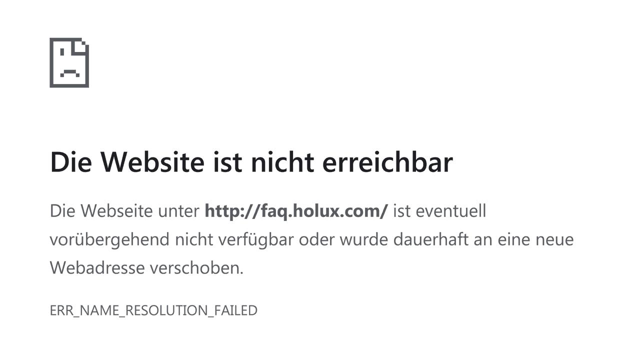"Fehler-Screenshot: ""faq.holux.com"" nicht ereichbar"