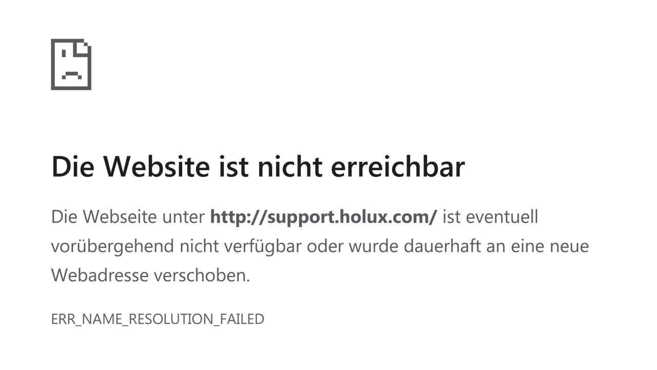 """Fehler-Screenshot: """"support.holux.com"""" nicht ereichbar"""